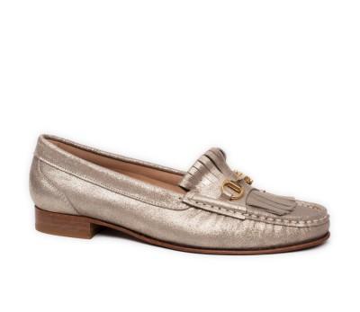 Zapato mocasín mujer piel magic plano flecos