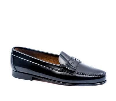 zapatos genuinos gran colección Precio 50% Zapato mocasin piel antik negro modelo clasico antifaz