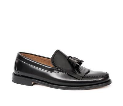 66169511888 Pala alta hombre piel antik negro flecos borlas - Zapatos de fiesta ...