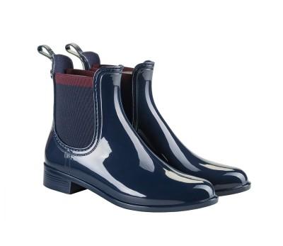 6741c5b76a62c Botín goma azul marino brillante para lluvia plano - Botas de agua ...