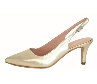 Zapato destalonado mujer piel laminado cava tacón