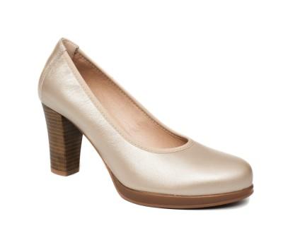 375ce1b0 Zapato salón mujer piel metal oro tacón - Zapatos de fiesta - Mujer ...