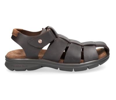 Sandalia de hombre de piel marrón, semiabierta con velcro
