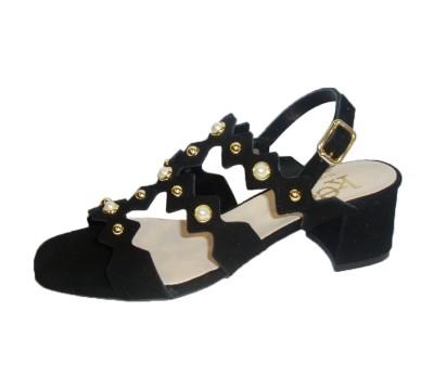c31bb2b2 Sandalia mujer ante negro perlas - Sandalias tacón - Mujer | comprar ...