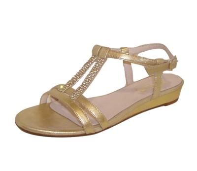 9dd907f336e Sandalia mujer piel metal dorada pequeña cuña - Sandalias planas ...