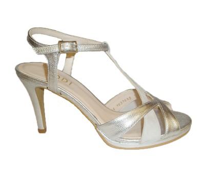 419f15f4d Sandalia mujer combina 2 pieles plata - Sandalias tacón - Mujer ...