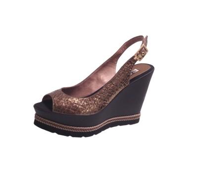 mejor servicio moda de lujo la mejor calidad para Sandalia mujer piel grabada bronce plataforma cuña