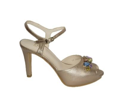 Ginura, peep toe con adorno joya multicolor, bottier con plataforma oculta