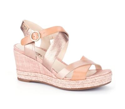 Sandalia plataforma/cuña mujer piel apricot