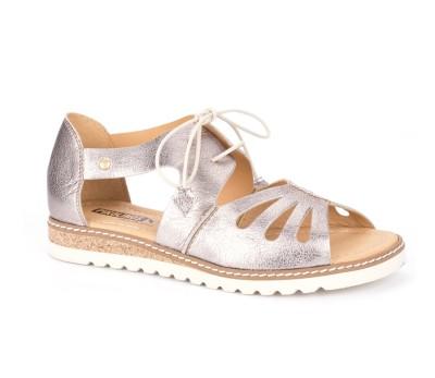 Sandalia cordones mujer piel stone