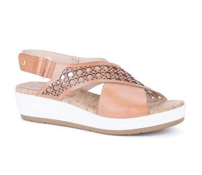 Sandalia piso grueso mujer piel apricot