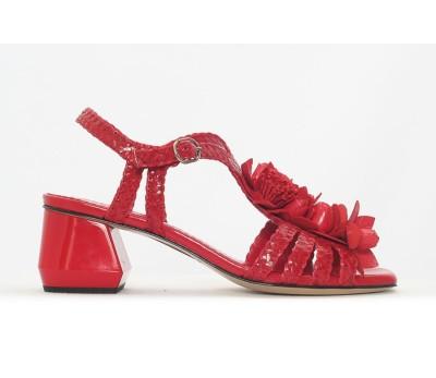 Sandalia mujer piel napa trenzado rojo tacón