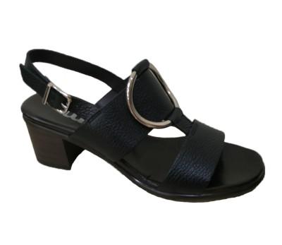 Sandalia mujer tacón medio en piel montana negro, con planta de piel new-confort