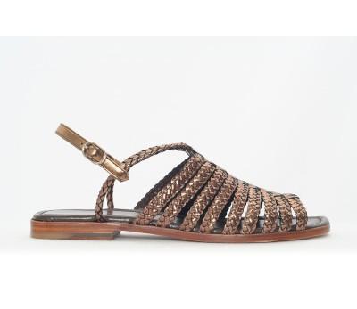 036a8052 Sandalia plana piso de suela, trenzado metal color cobre - Sandalias ...