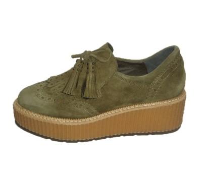806cf1fc9a3 Zapato abotinado mujer piso bloque ante kaki - Blucher Cordones ...