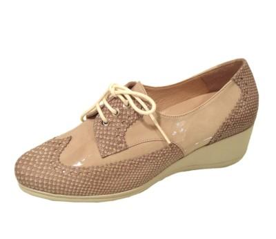 Zapato blucher mujer piel camel cuña