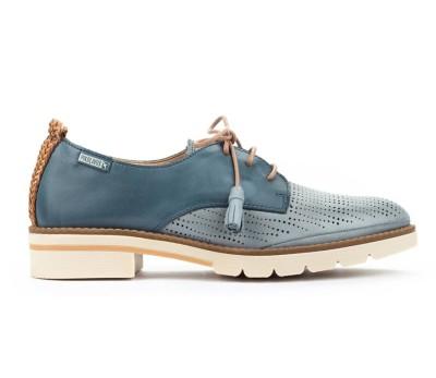 Zapato Sitges mujer piel combinada denim cordones