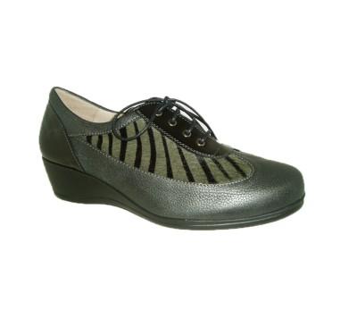 Zapato casual mujer piel combinada negro/gris cebra cordones