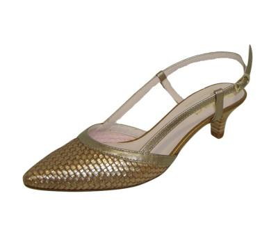 selección premium 2a857 6c4ac Zapato chanelita mujer piel trenzada bronce