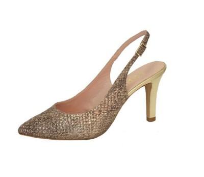 Zapato chanelita mujer piel grabada metalizada piedra tacón cava
