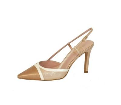 Zapato puntero mujer piel rubor/blanco