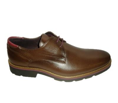 Zapato hombre piel café burdeos cordones