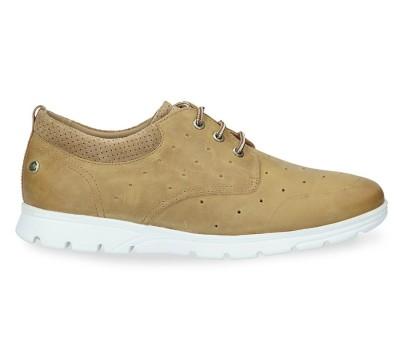 Zapato hombre piel color ocre de cordones piso gumlight plantilla extraíble