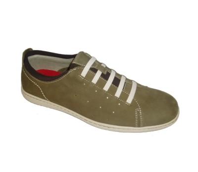 Zapato tubular hombre piel oliva cordones