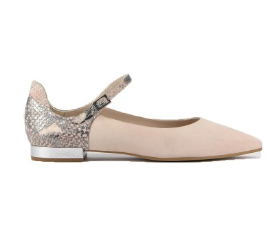 Zapato merceditas mujer nude/pitón
