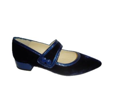 Zapato merceditas mujer piel velvet navy