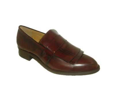 51409b72bb Zapato flecos mujer piel brillante granate burdeos - Zapatos planos ...
