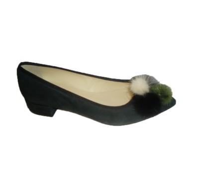 Zapato mujer ante grafito pompones