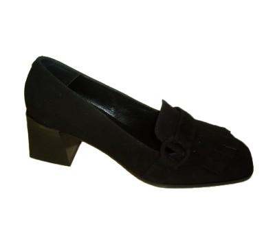 Zapato mujer ante negro flecos tacón