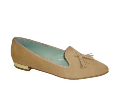 Zapato plano mujer ante fard borlas