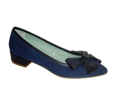 Zapato mujer ante ultramar tacón cuadrado lazo