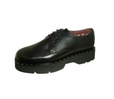 Zapato mujer casual piel negra cordones