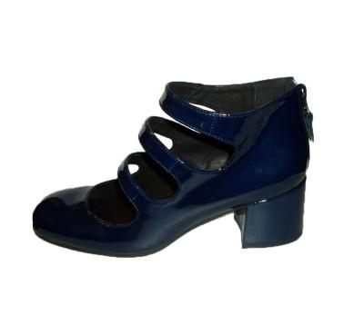 a0fade8f634 Zapato abotinado abierto mujer charol marino cremallera talón ...