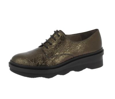 Zapato mujer piel metalic bronce cordones