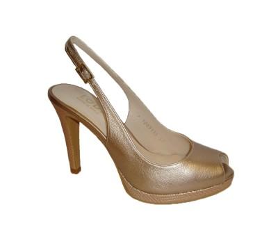 Zapato Lodi modelo Peli, abierto delate y talón en piel sol nude tacón alto y plataforma.