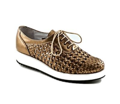 2b8dfc0125e Zapato mujer metal bronce trenzado - Blucher Cordones - Mujer ...