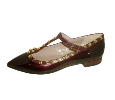 """Zapato mujer """"Valentino"""" plano piel wine"""
