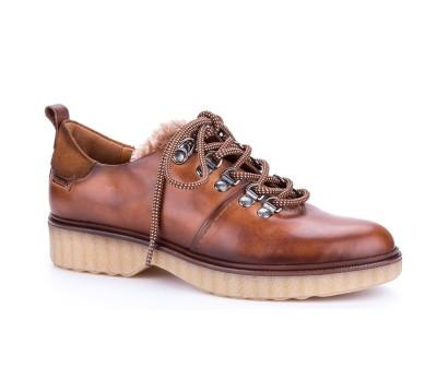 Zapato bruselas mujer piel brandy cordones