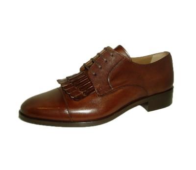 37a35ebc354e Zapato blucher mujer piel castaña flecos