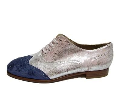 Zapato plano con cordones y zapatos planos Mary Jane en plata para mujer HCxCZaWuQ