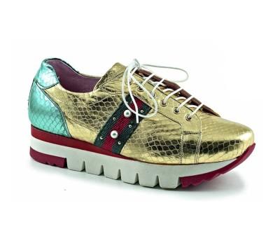 Zapato mujer piel pitón metal oro piso bloque