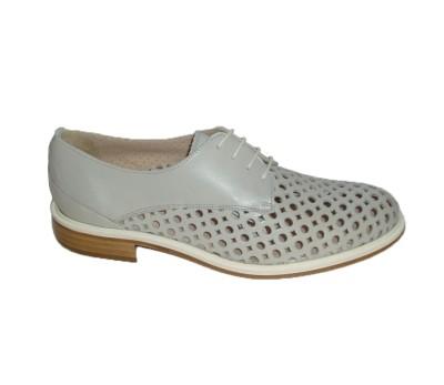 bf671254317a Zapato mujer piel troquelada perla cordones