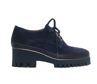 Zapato mujer piel velour navy cordones