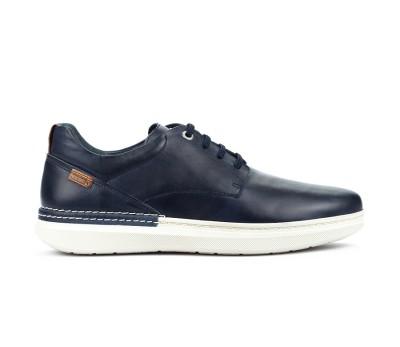 Zapato Begur piel blue cordones