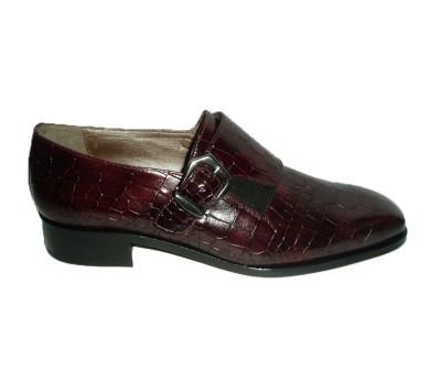 Zapato hebilla mujer piel coco burdeos