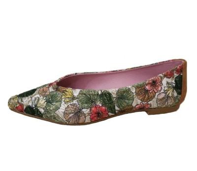 Zapato plano mujer estampado flores
